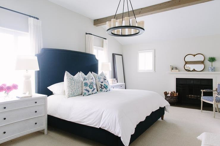 Best White And Navy Bedroom With Fireplace Contemporary Bedroom Benjamin Moore Classic Gray With Pictures