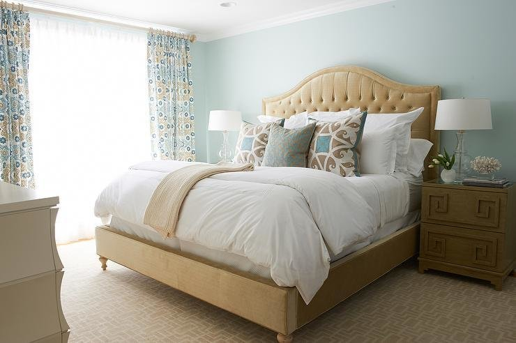 Best Beige And Blue Bedroom With Greek Key Nightstand Transitional Bedroom With Pictures