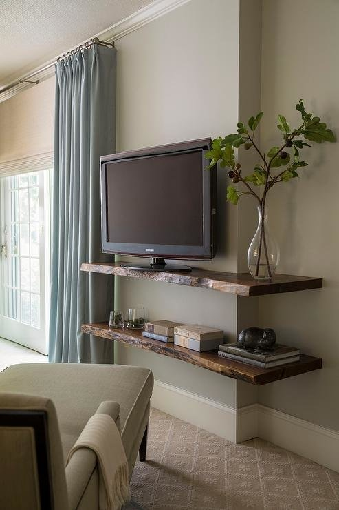 Best Live Edge Wall Shelf With Tv Transitional Bedroom With Pictures