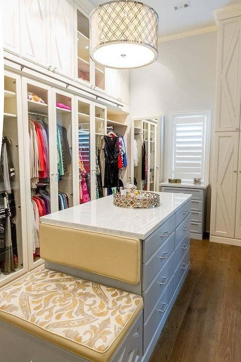 Best Gray Closet Island With Built In Bench Contemporary Closet With Pictures