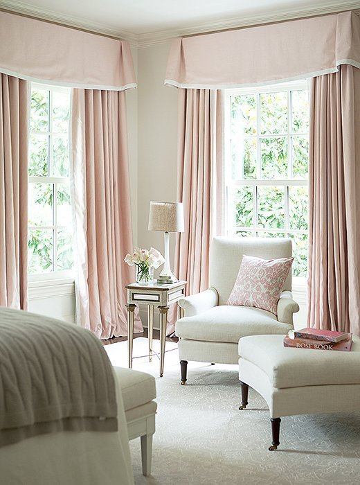 Best White Bedroom With Pink Valance And Curtains Traditional Bedroom With Pictures