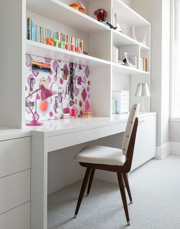 Best Girls Rooms White Built In Desk Design Ideas With Pictures