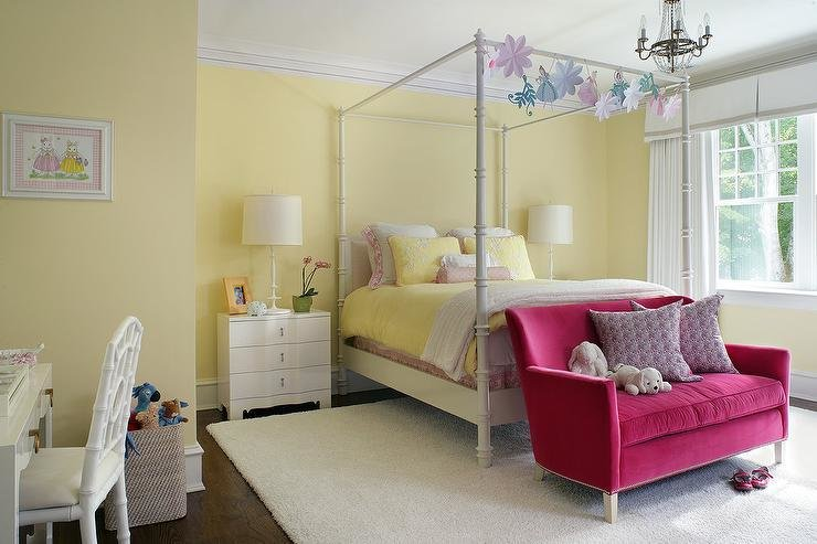 Best White And Yellow Girl Bedroom With Hot Pink Velvet Loveseat Transitional Girl S Room With Pictures