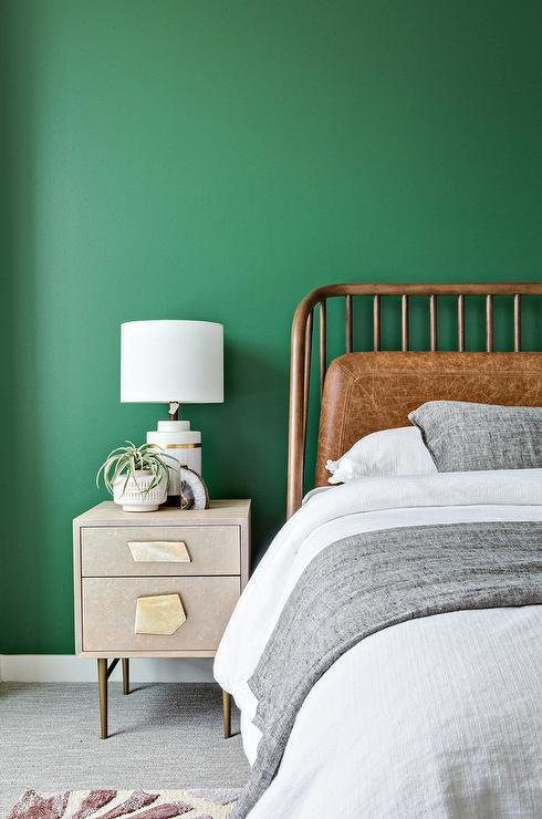 Best Kelly Green Wall With Gray And Gold Nightstand With Pictures