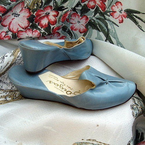 Best Vintage 50 60S Blue Leather Wedge Heel Bedroom Slippers Mu With Pictures