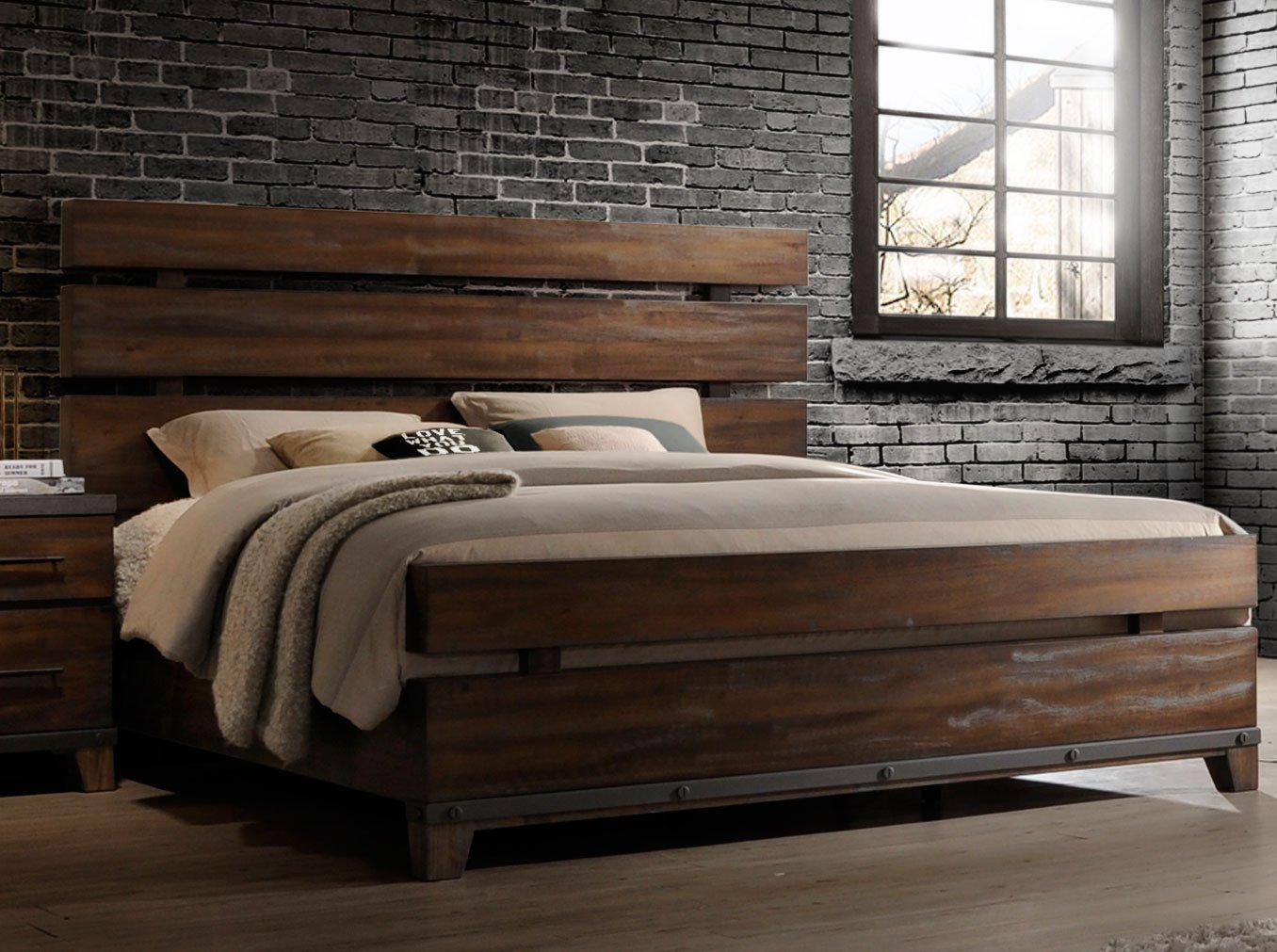 Best Modern Rustic Brown 6 Piece King Bedroom Set Forge Rc Willey Furniture Store With Pictures