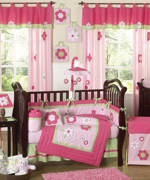 Best Baby Girl Bedding Set Pink Green Flowers With Pictures