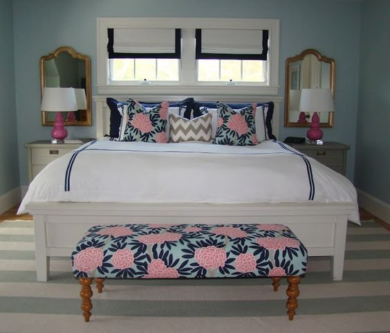 Best Fresh White Navy Turquoise And Pink Bedroom With A With Pictures
