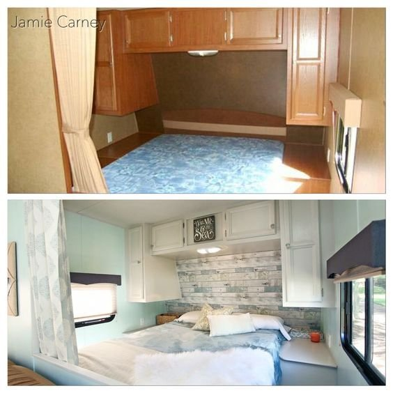 Best Beach Theme Master Bedroom Redo In A Travel Trailer With Pictures