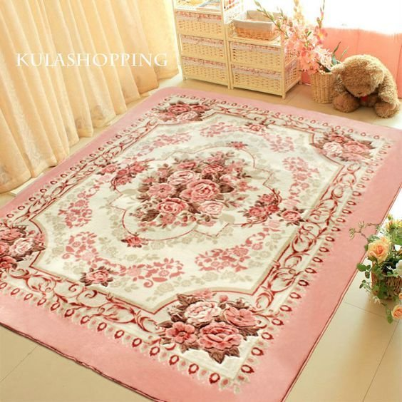 Best Details About Pink European Rose Floral Floor Mat Rug With Pictures