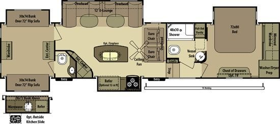 Best 2 Bedroom Fifth Wheel Floorplans Google Search Camper With Pictures