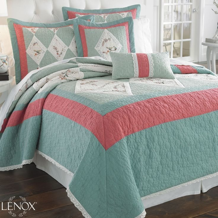 Best Teal And Coral Bedrooms Chirp Quilt Bedding A Lenox With Pictures