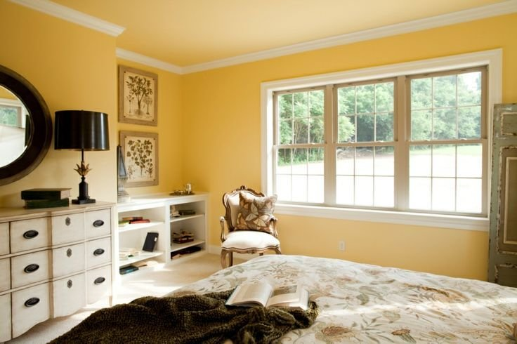 Best Master Bedroom With Crown Molding A Bright Yellow Wall With Pictures