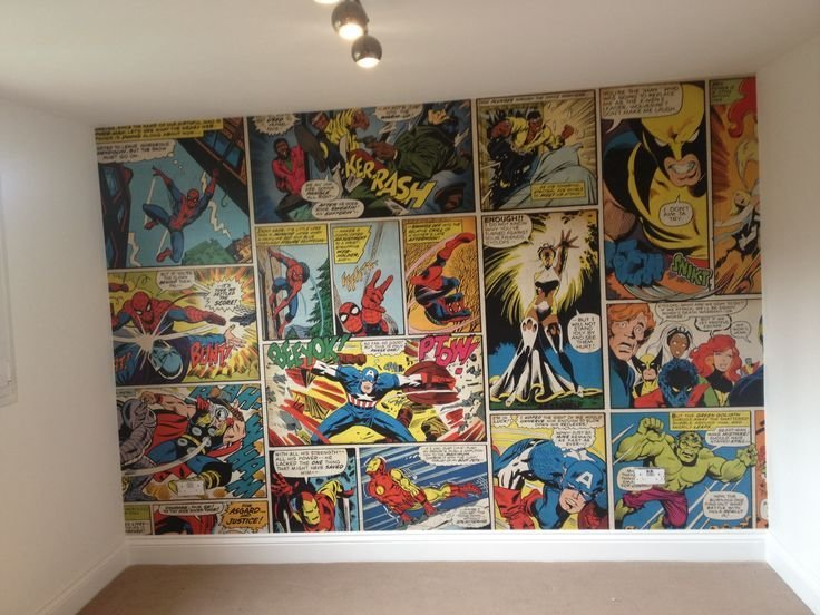 Best Marvel Comic Wallpaper Ronnie S Bedroom For The Boys With Pictures