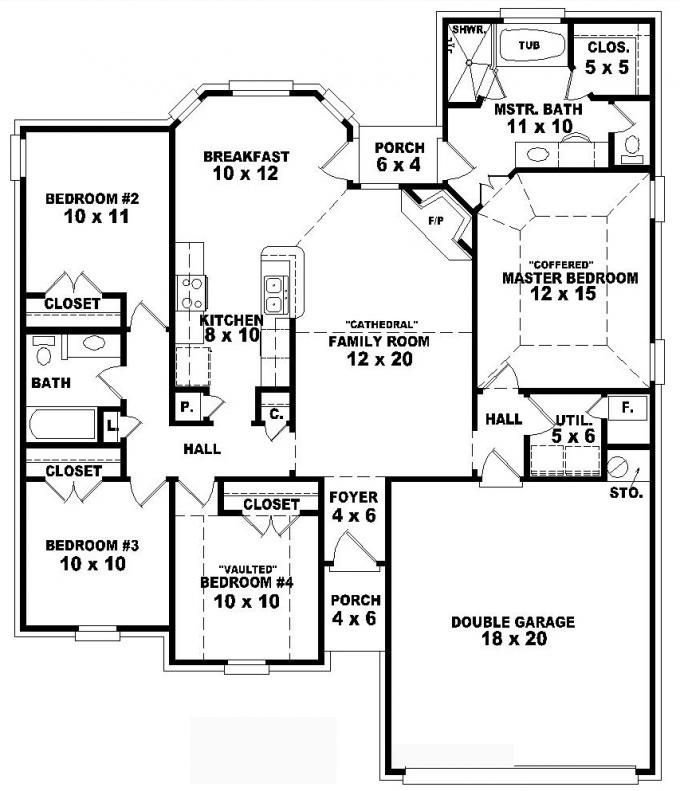 Best One Story 4 Bedroom 2 Bath Traditional Style House Plan With Pictures