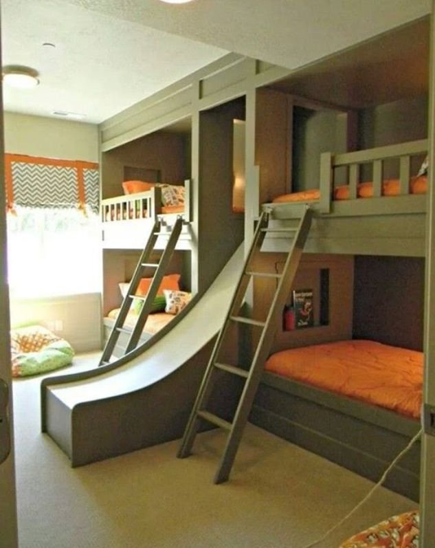 Best Green And Orange Bunk Bedroom With Awesome Slide Good Design Doesn't Date Baronessa Home With Pictures