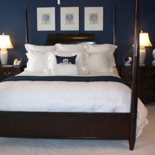 Best Navy Blue Bedroom Paint Color To Go Around The Beadboard In The Guest Room Decor Ideas With Pictures