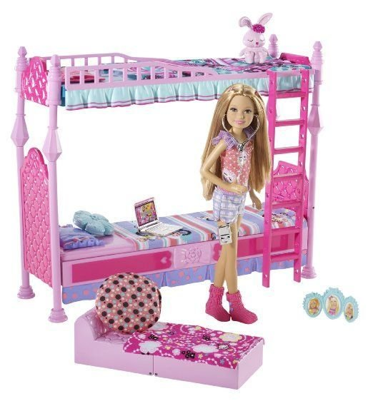 Best Amazon Com Barbie Sisters Sleeptime Bedroom And Stacie Doll Set Toys Games Toys For The With Pictures