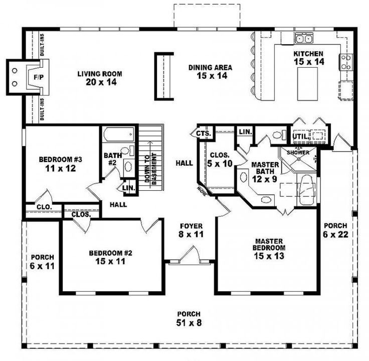 Best 654173 One Story 3 Bedroom 2 Bath Country Style House With Pictures