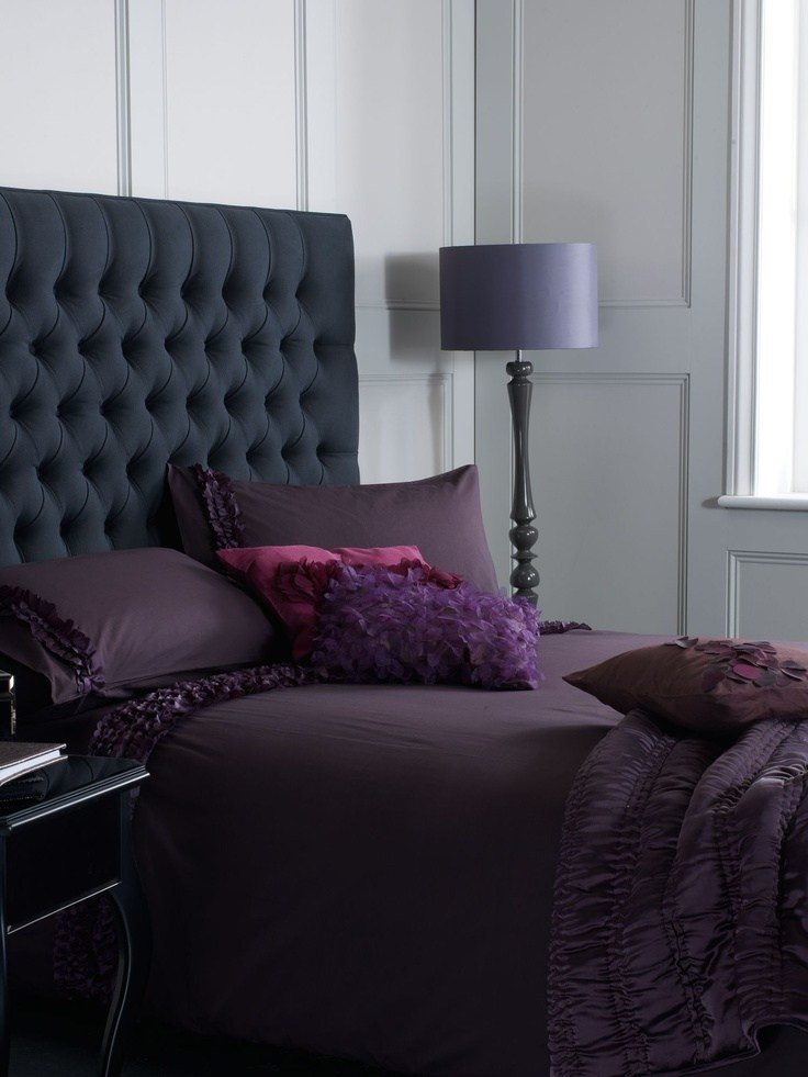 Best Grey Buttoned Headboard With Purple Bedding Home Bedroom With Pictures
