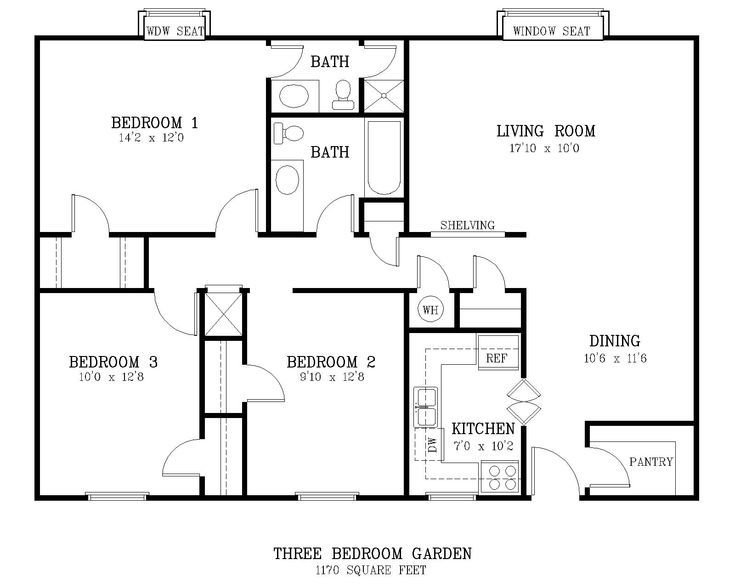 Best Standard Living Room Size Courtyard 3 Br Floor Plan Jpg With Pictures
