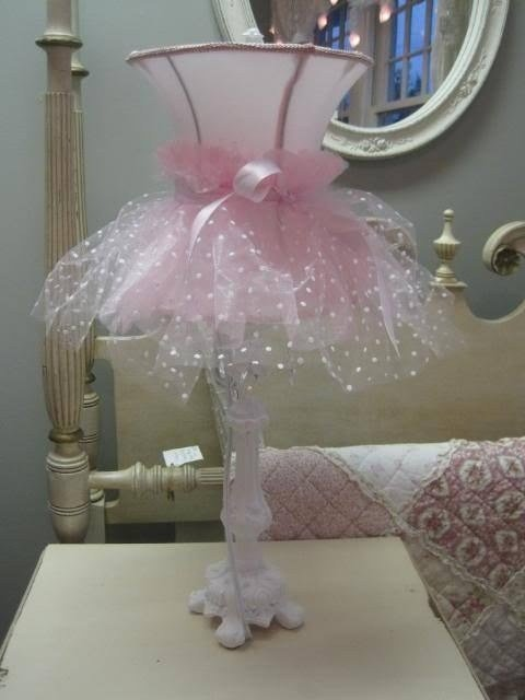 Best Shabby Pink Tulle Ruffles Bow Chic Ornate White Clear Crystals Table Lamp Shade Ebay Pink With Pictures
