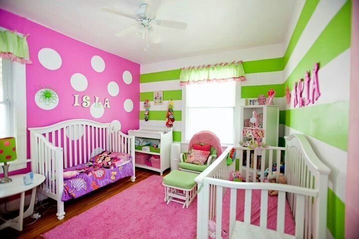 Best Pink And Green Girls Room Stripes And Polka Dots It Is A Girl Pinterest Girls Polka With Pictures