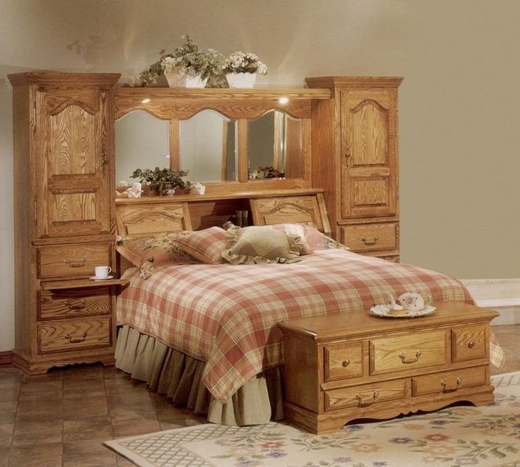 Best Cedar Lined Red Oak Wood Mirrored Bed Headboard Storage With Pictures