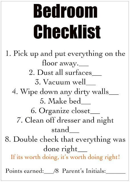 Best Chores Cleaning Checklist For Each Room For Kids For With Pictures