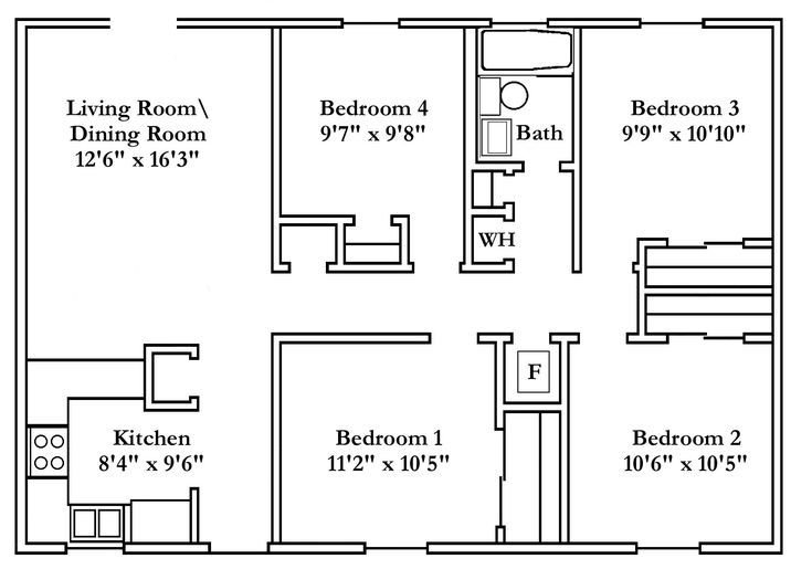 Best Small 4 Bedroom House Plans Free Typical Floor Plans With Pictures