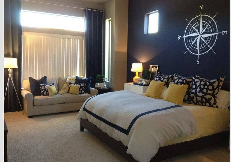Best Navy Blue Accent Wall Yellow Accents Master Bedroom With Pictures