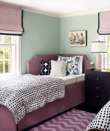 Best Green Wall Color Scheme And Purple Beds In Small Teenage Bedroom Design Ideas Idea For With Pictures
