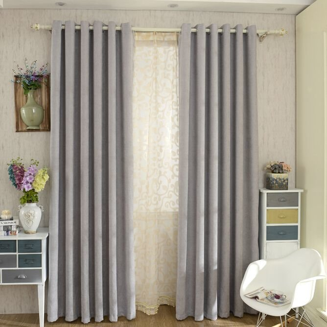 Best Modern Chenille Grey Bedroom Curtains Blackout Grey With Pictures