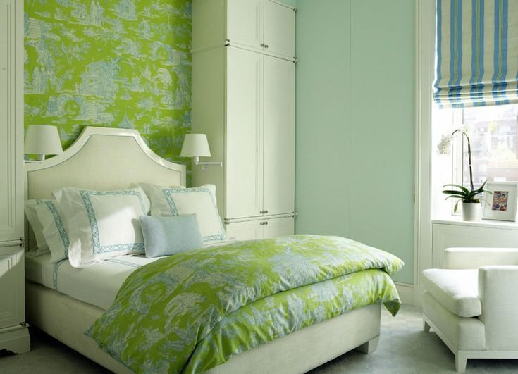 Best Turquoise And Bright Apple Green Toile Wallpaper And With Pictures