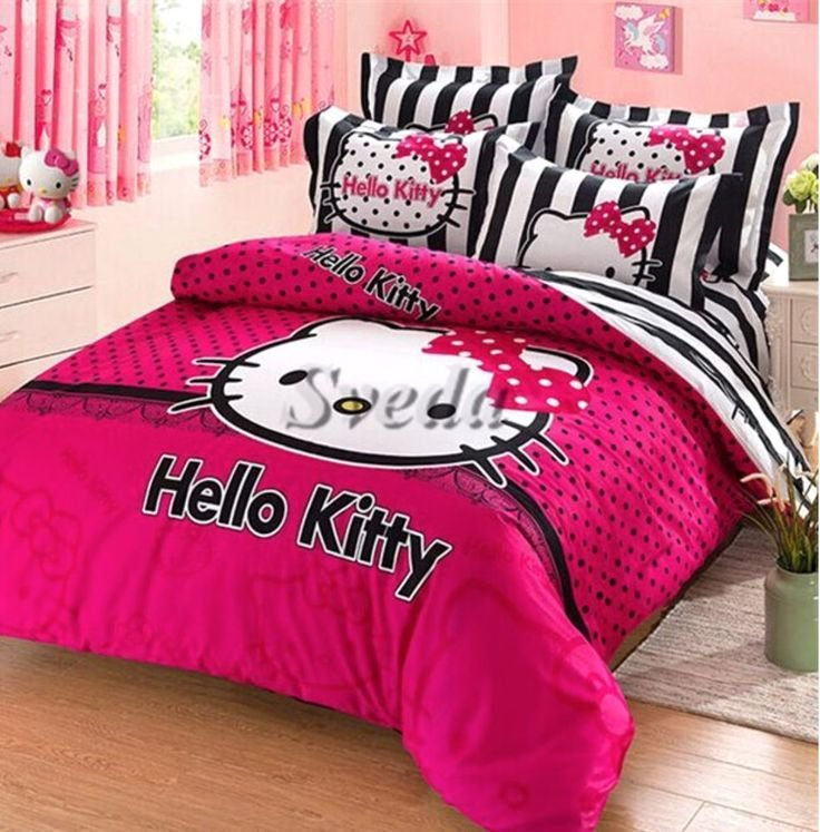 Best Hello Kitty Twin Size Duvet Cover Bedding Set For Girls With Pictures
