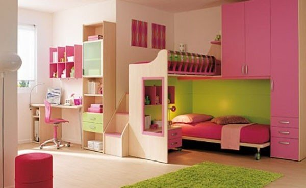 Best Gorgeous Girl S Bedroom With Loft Office Built In Cabinetry In Pink Lime Green Home Decor With Pictures
