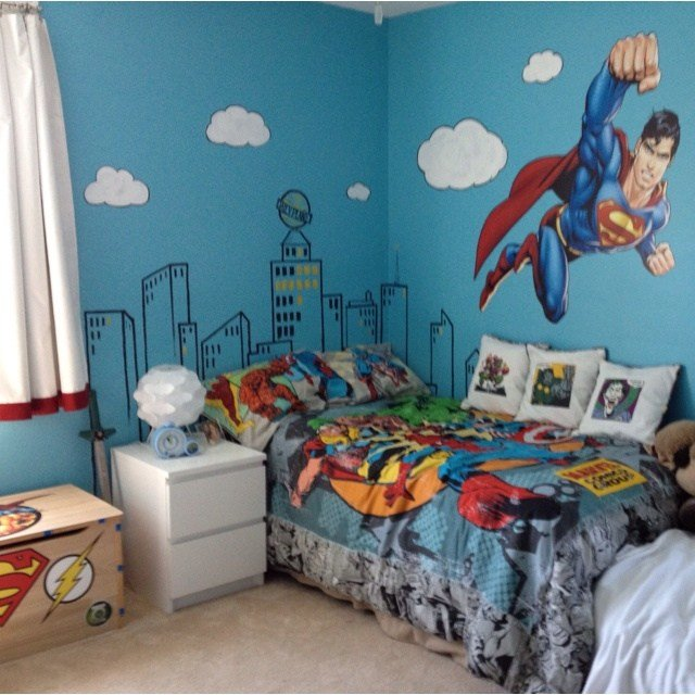 Best A Superhero Room Complete With Metropolis Headboard And With Pictures