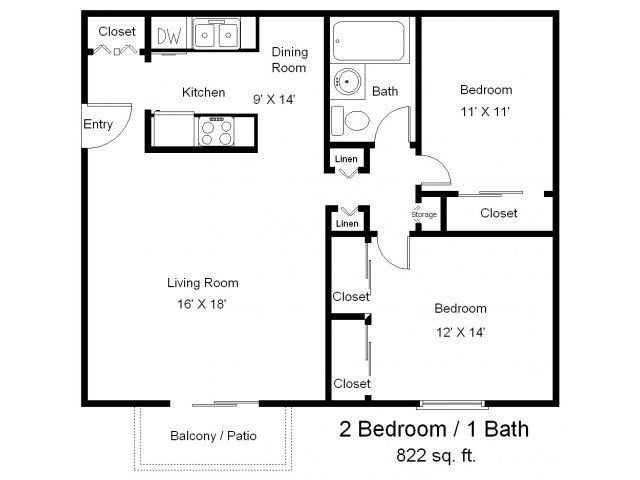 Best One Bedroom One Bath Floor Plans Two Bedrooms One With Pictures