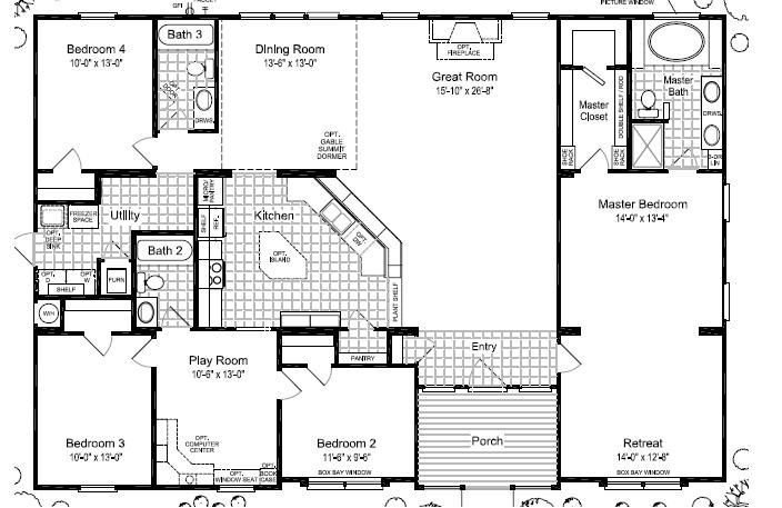 Best Triple Wide Mobile Home Floor Plans Las Brisas Floorplan With Pictures