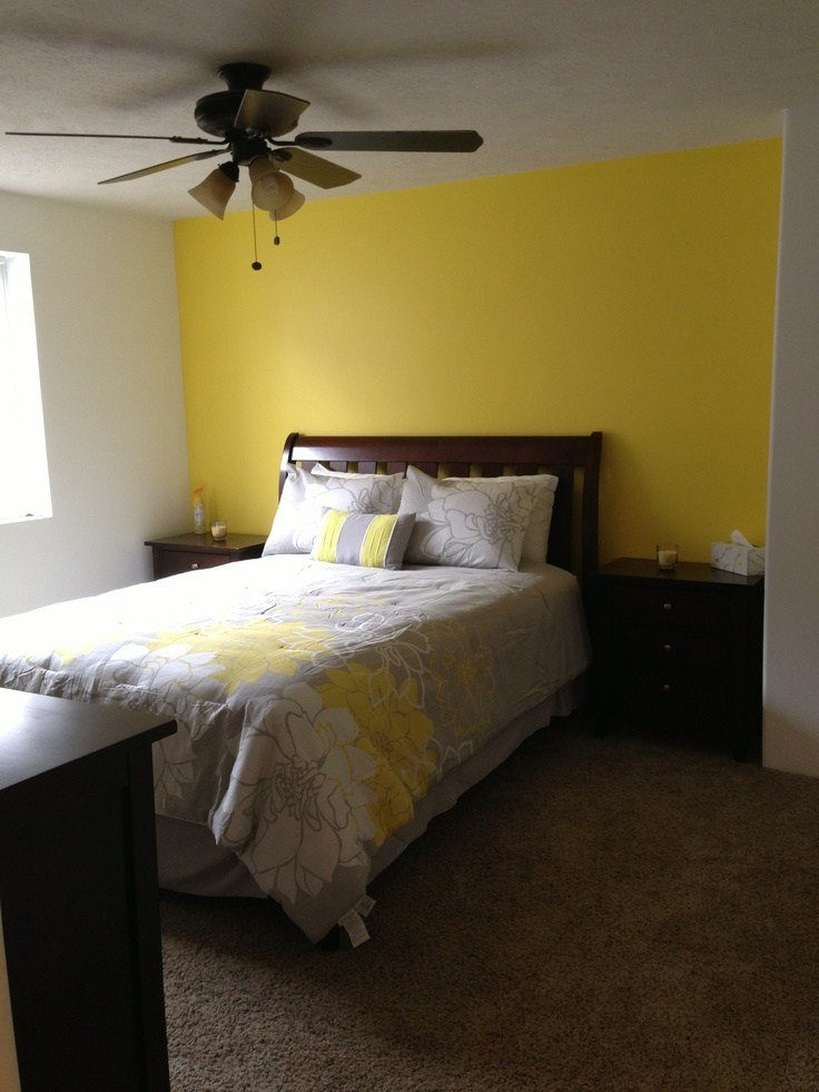 Best Basement Bedroom Love Our Yellow Accent Wall Home With Pictures