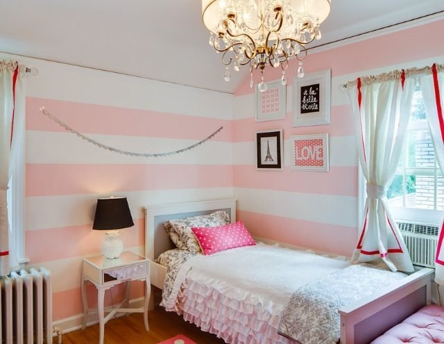 Best Pink White Striped Walls Girls Bedroom For The Home With Pictures