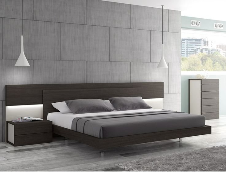 Best J M Maia Wenge Premium Queen Platform Bed With Headboard Lights 17867221 Modern Bedroom With Pictures
