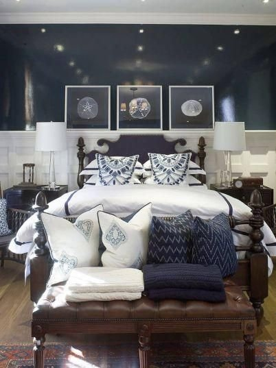 Best Navy Blue Coastal Bedroom Design With Glossy Navy Blue Walls Paint Color Black Bed Tapered With Pictures