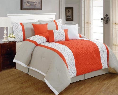Best 7 Pieces Luxury Coral Orange Grey And White Quilted Linen With Pictures Original 1024 x 768