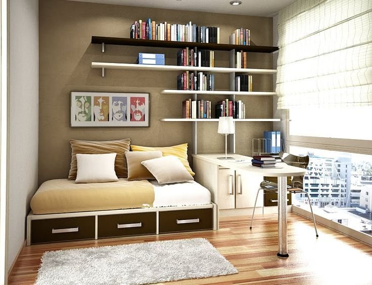 Best Cool Small Bedroom Office With Shelving Gorgeous With Pictures