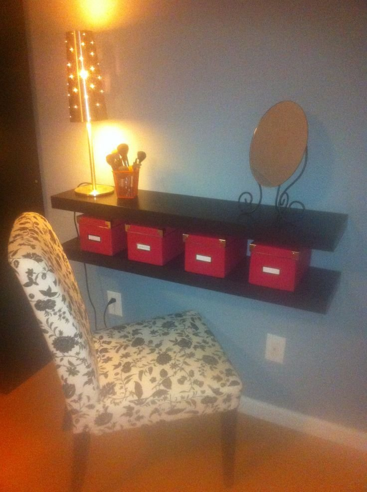 Best Diy Makeup Vanity Out Of Wall Mounted Shelves Ideas For With Pictures