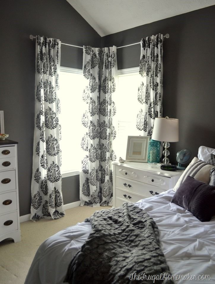 Best Master Bedroom Update Diy Stenciled Curtain Panels Wall With Pictures