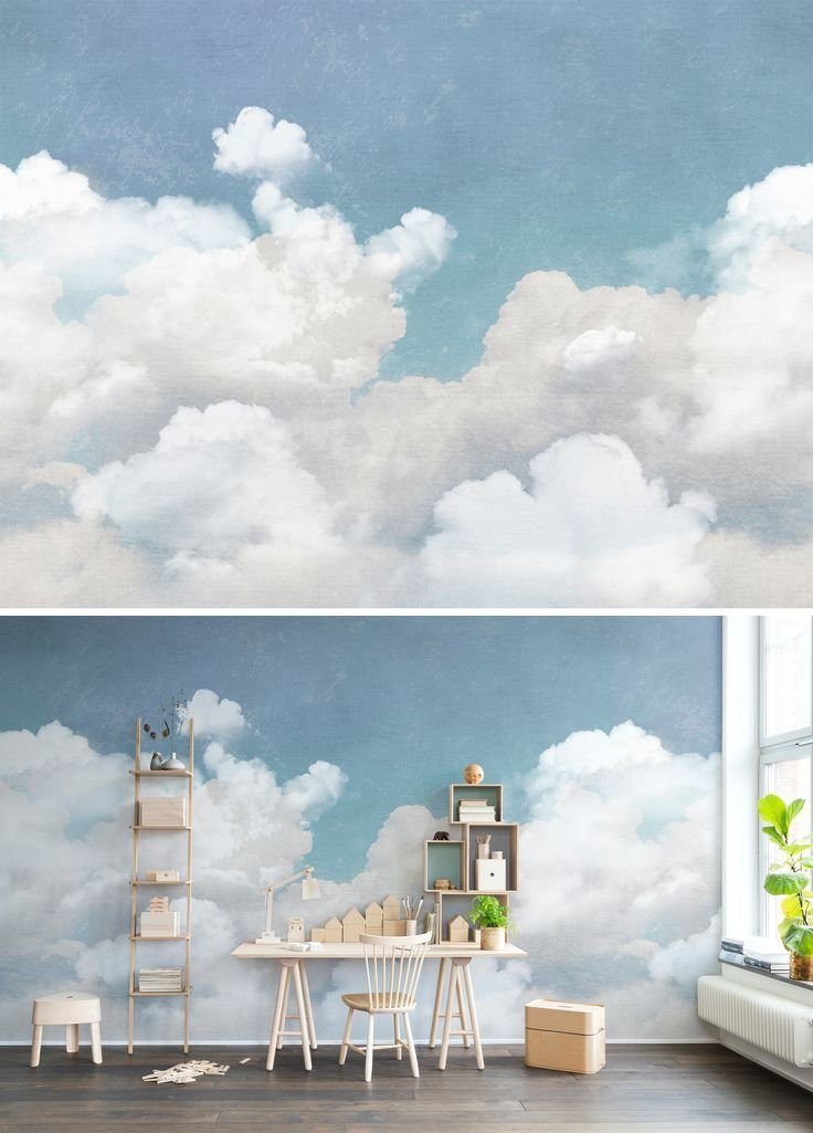 Best Cuddle Clouds Wall Murals Retro Vintage And Cloud With Pictures