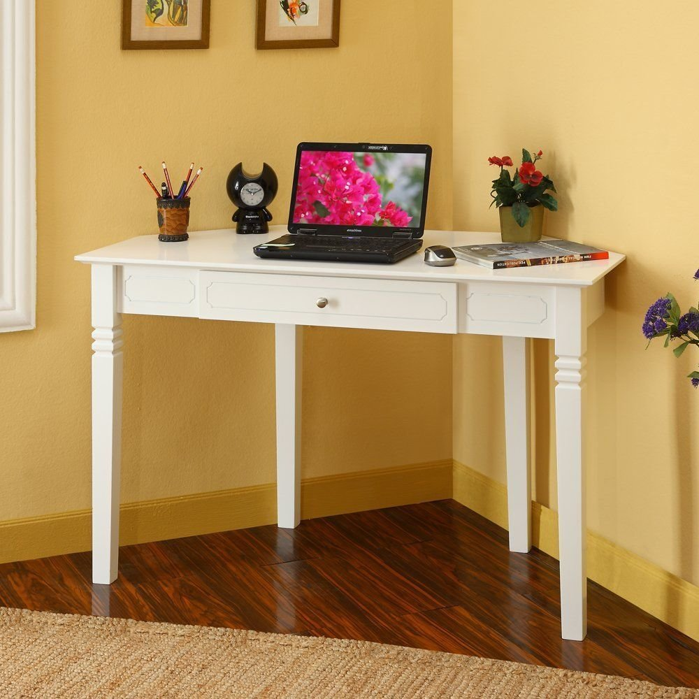 Best Corner Desks For Small Spaces White Corner Desk With One Drawer For Small Bedrooms Living With Pictures