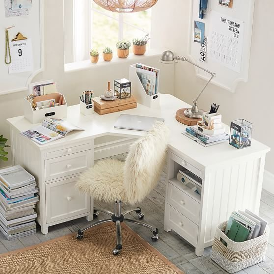 Best Beadboard Smart Corner Desk Simply White Kids Rooms With Pictures